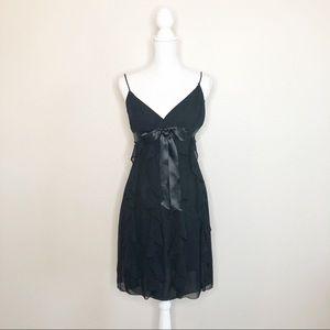 Betsy & Adam Ladies Ruffled Cascading Black Dress